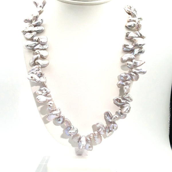 Pearl Sterling Individually Knotted Necklace  - 24 inch