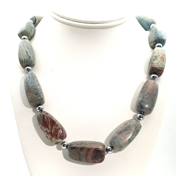 Jasper Sterling Graduated, Individually Knotted Necklace  - 20 inch