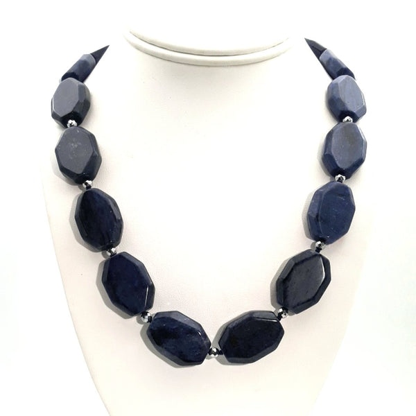 Lapis, Sodalite and Silver Hematite Sterling Straight Necklace  - 20 inch