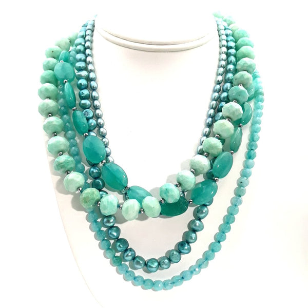 Amazonite, Chalcedony and Pearl Sterling Multi Strand Necklace  - 20 inch