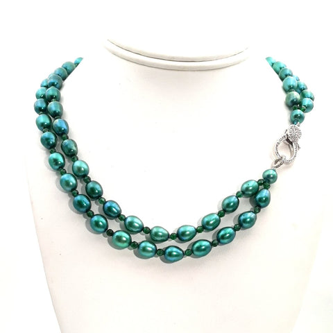 Green Onyx and Pearl Sterling Multi Strand Necklace  - 18 inch
