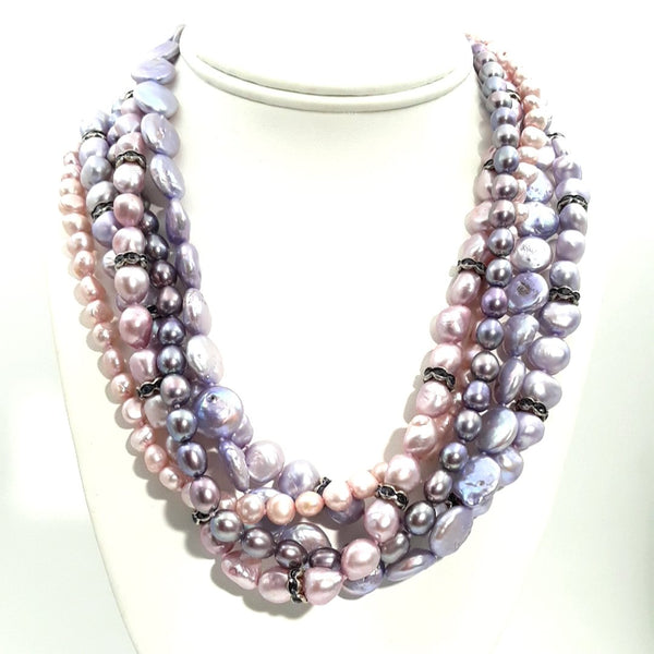 Iolite and Pearl Sterling Multi Strand Necklace  - 18 inch