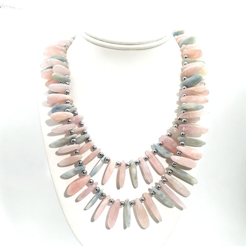 Opal Sterling Multi Strand Necklace  - 18-20 inch
