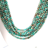 Turquoise and Variscite Sterling Multi Strand Necklace  - 18 inch