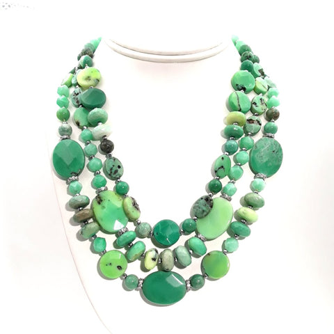 Variscite Sterling Straight Necklace  - 18-20 inch