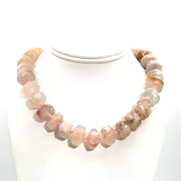 Pink Peruvian Opal Sterling Straight, Individually Knotted, Gem Strand Necklace  - 16 inch