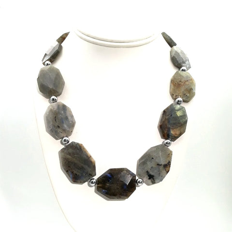 Labradorite Sterling Straight Necklace  - 20 inch