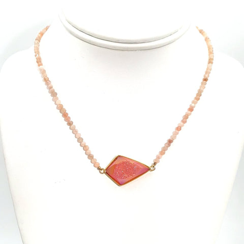 """She Brings The Sparkle (Pink Champagne)"" - Druzy and Opal Gold Necklace - 14 inch"