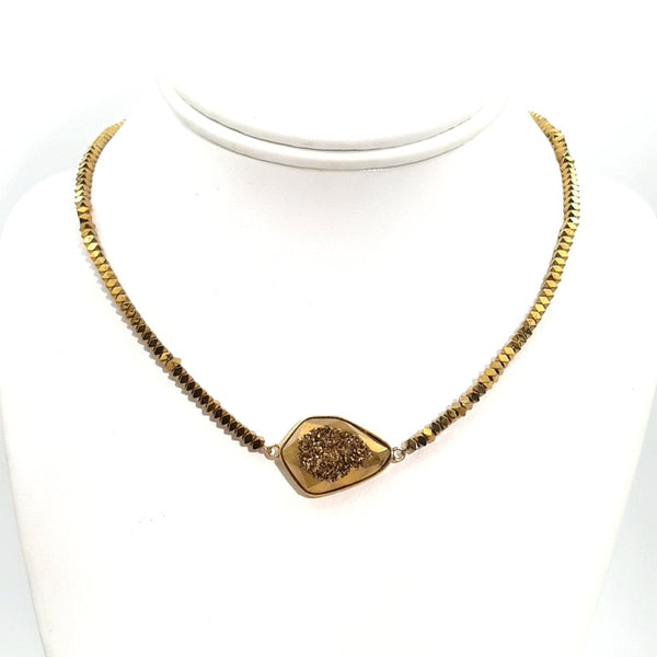 """She Brings The Sparkle (Golden Girl)"" - Druzy and Hematite Gold Necklace - 16 inch"