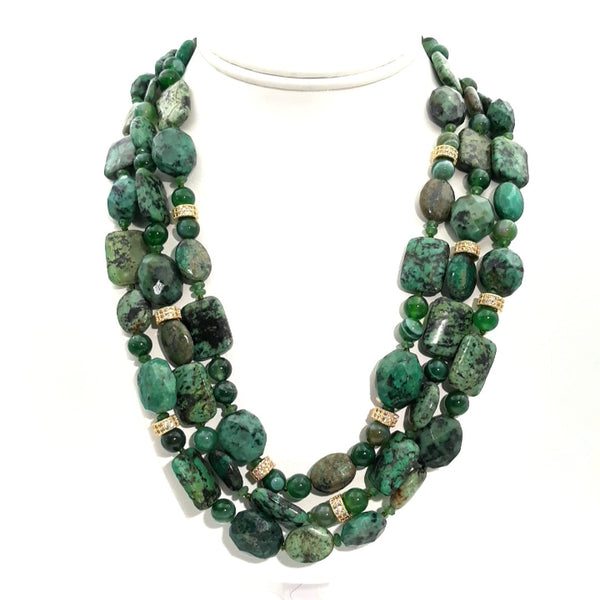 """Goddess In Green!"" - Chrysocolla Gold Necklace - 18-22 inch"