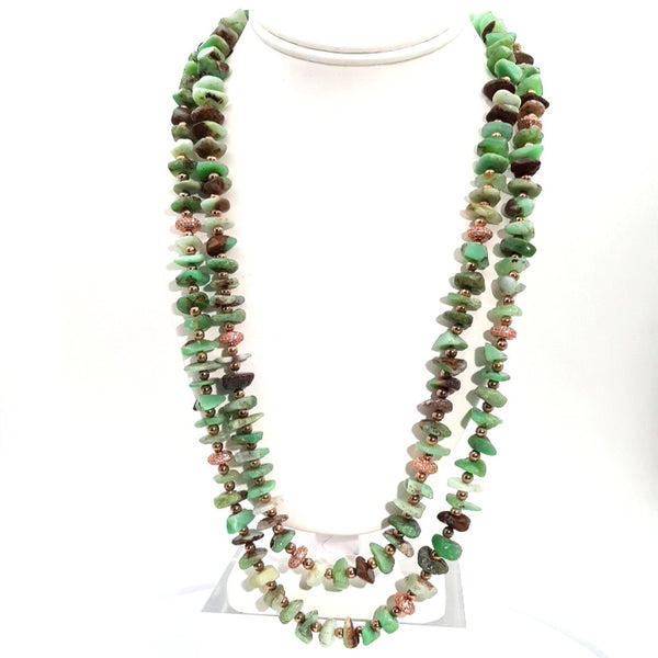 """Mint Chocolate Chip Double, PLEASE!"" - Chrysocolla Rose Gold Necklace - 24 inch"