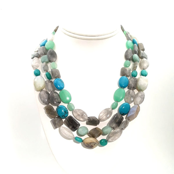 """Silver-lining The Days"" - Amazonite, Chalcedony, Labradorite, Opal, Quartz and Turquoise Sterling Necklace - 16-18 inch"