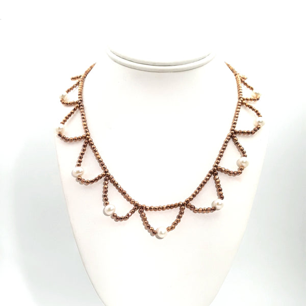 Rose Gold Hematite and Pearl Rose Gold  Necklace  - 18 inch