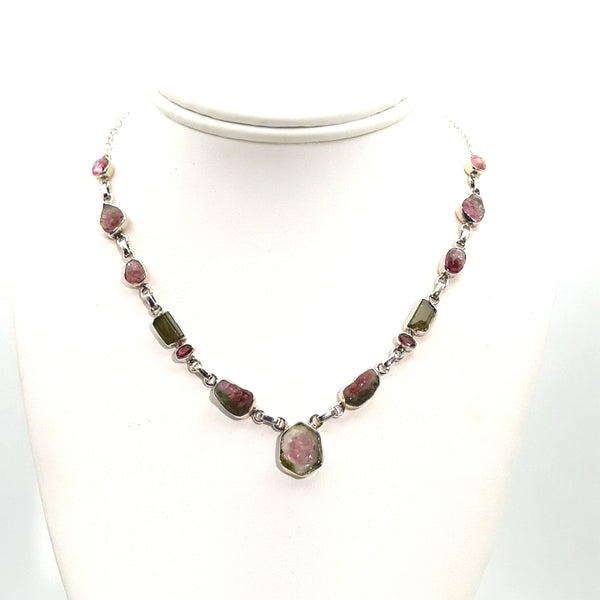 Watermelon Tourmaline  Sterling Link Necklace  - 16 inch