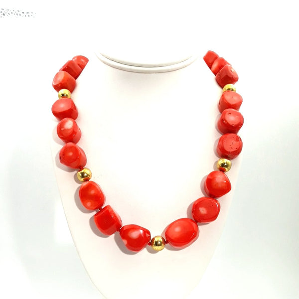 """Lady Danger"" - Red Coral Gold Necklace - 20 inch"