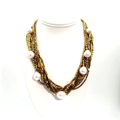 """It's Liquid Gold, Lady!"" - Baroque Pearl and Hematite Gold Necklace - 18 inch"