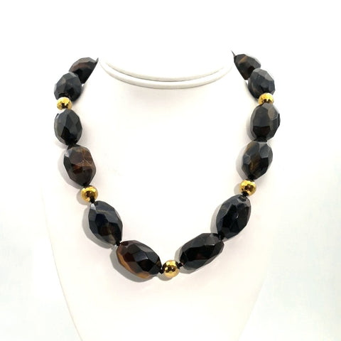 """Cat-Eyes!"" - Tiger's Eye Gold Necklace - 18 inch"