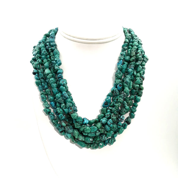 Green Gemstone Gold Multi Strand Necklace  - 16 inch