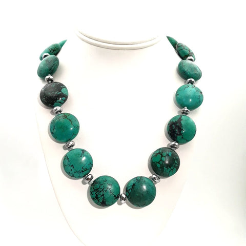 """The Matrix"" - Turquoise and Hematite Sterling Necklace - 20 inch"