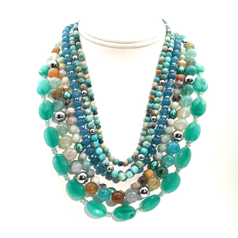"""The Six-String of Blues"" -  Sterling Necklace - 16-20 inch"