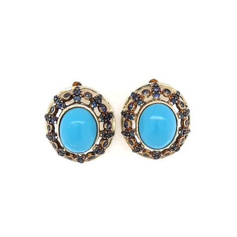 Turquoise and Sapphire Gold Studs Earrings  - 3/4 inch