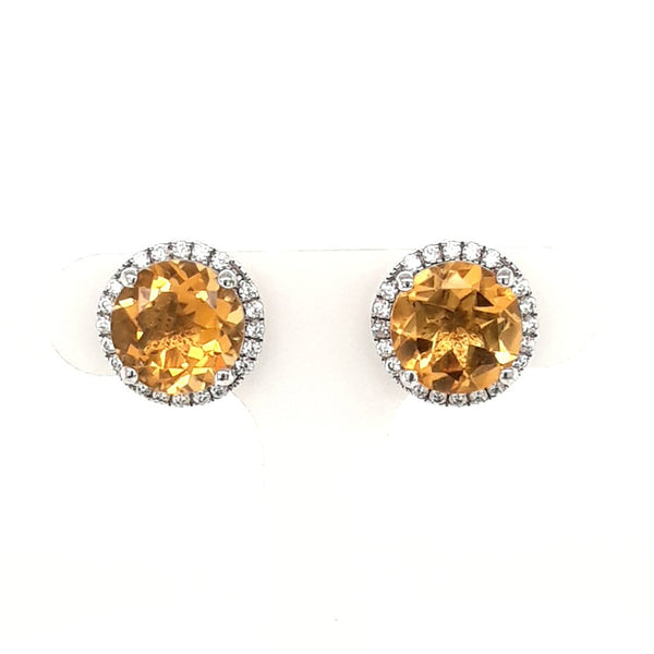 Orange Gemstone Sterling Studs Earrings  - 1/2 Inch