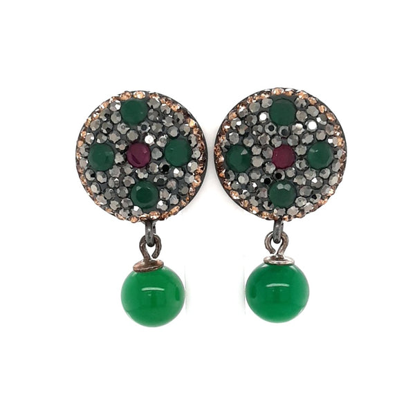 Green Onyx, Emerald and Ruby  Sterling Post Drop Earrings  - 1 1/4 inch