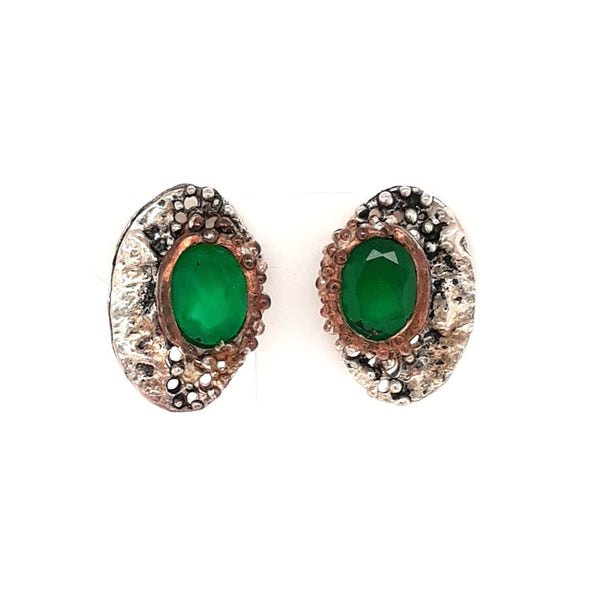 Emerald Sterling Studs Earrings  - 3/4 inch