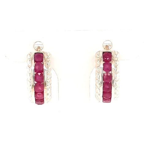 Ruby Sterling Hoops Earrings  - 1/2 Inch