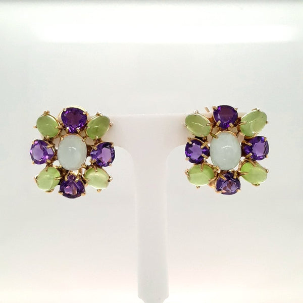 Amethyst and Green Gemstone Gold Studs, Clip On Earrings  - 3/4 inch