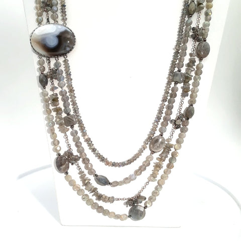 Labradorite and Agate Sterling Multi Strand Necklace  - 30-32 inch