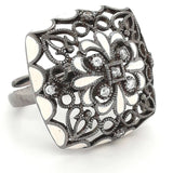 """Leather and Lace"" -Enamel Sterling  Ring  - Adjustable Size"
