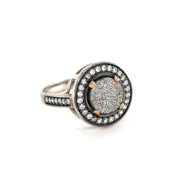 """Metallic Moon"" -Druzy Sterling Silver Ring  - Size 7"