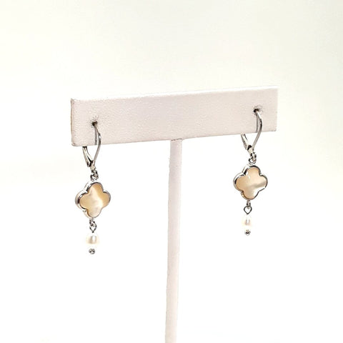 Mother of Pearl and Pearl Sterling Lever Back Earrings  - 1 1/2 inch