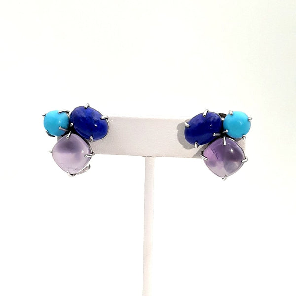 Turquoise, Lapis and Rose Quartz Sterling Studs, Clip On, Euro Clip Earrings  - 3/4 inch