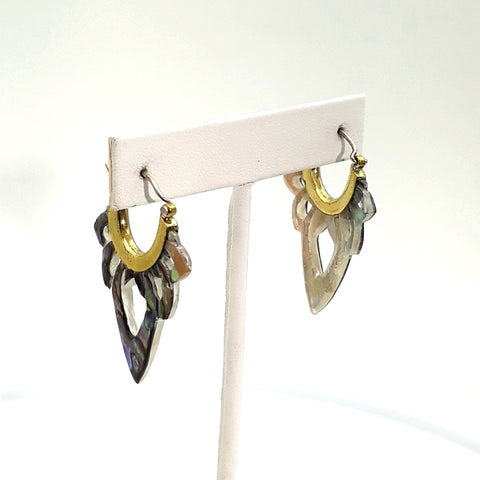 Shell   Pinch Post Earrings  - 1 3/4 inch