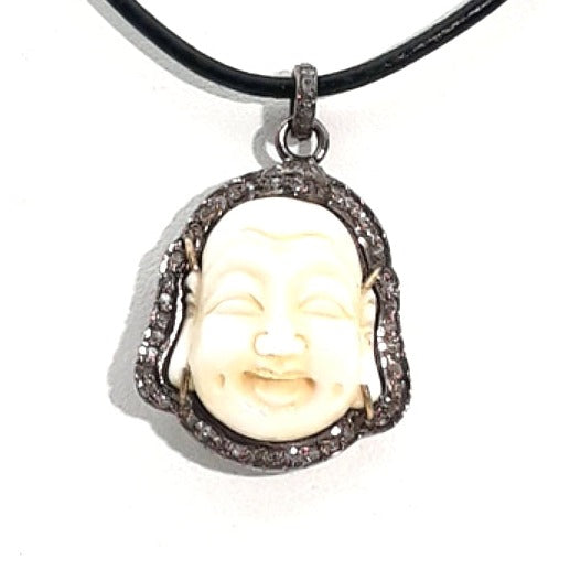 Hand Carved Bone Buddha with Diamond Halo Pendant