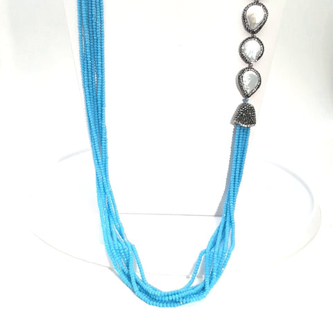 Blue Gemstone and Coin Pearl with Pave Sterling Multi Strand Necklace  - 36 inch