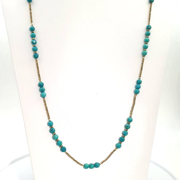 Turquoise Sterling Station Necklace  - 36 inch