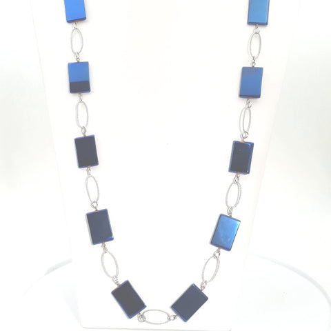 Agate Sterling  Necklace  - 36 inch
