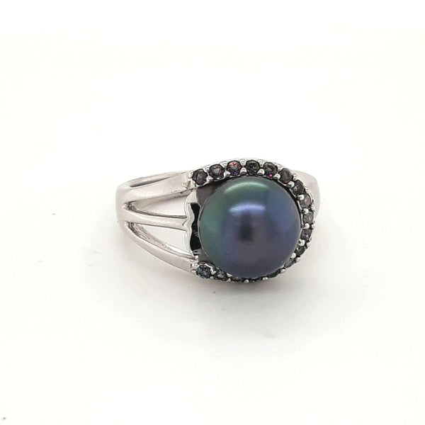 Peacock Pearl and Gemstone Sterling  Ring  - Size 7