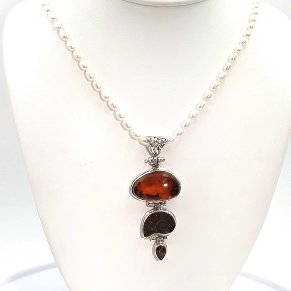 Amber and Ammonite  Sterling  Pendant  - 16 inch