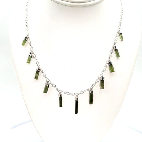 Tourmaline  Sterling  Necklace  - 18 inch