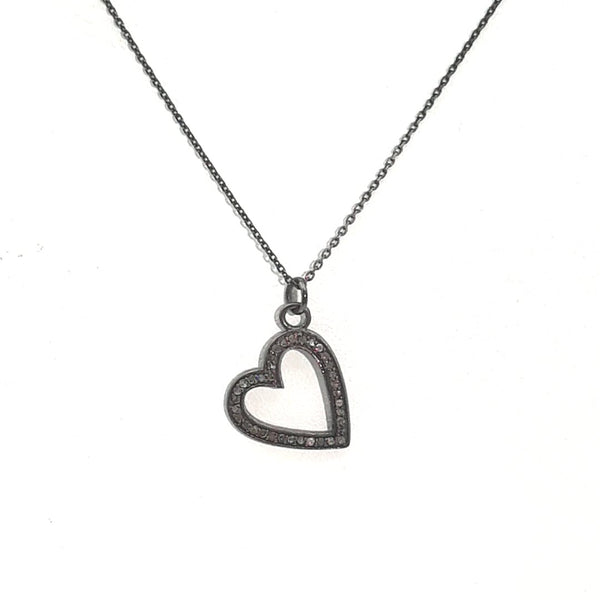 Diamond Heart Rhodium Washed Sterling  Pendant  - 16 inch