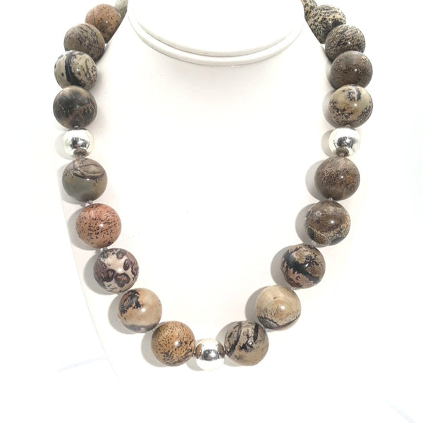 Agate Sterling  Necklace  - 20 inch