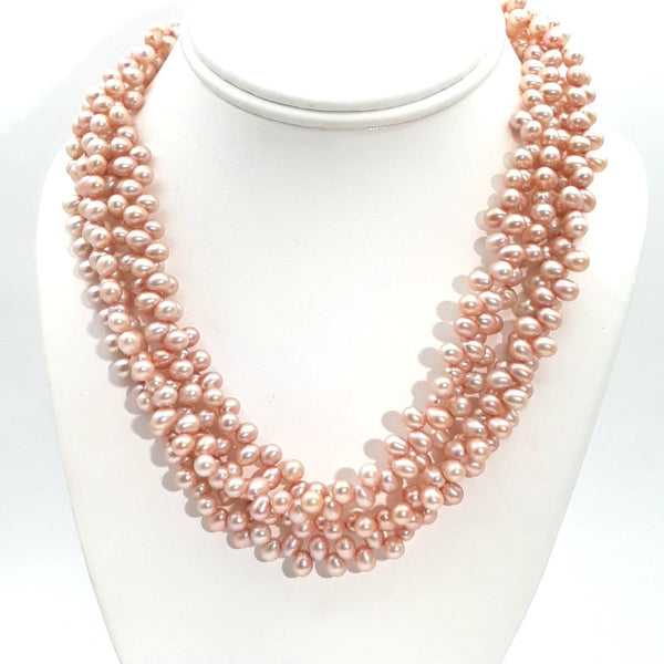 Pearl Sterling Multi Strand Necklace  - 16-18 inch