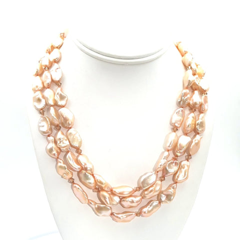 Pearl 14K Gold Multi Strand Necklace  - 16 inch