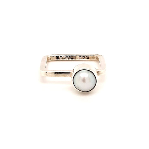 Pearl Sterling Stacking Ring  - Size 7