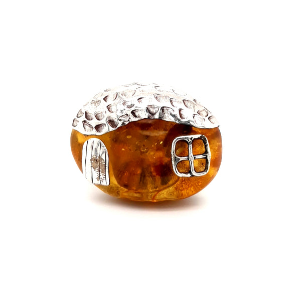 """Key West Conch House""- Amber, Sterling Silver, Adjustable Ring"