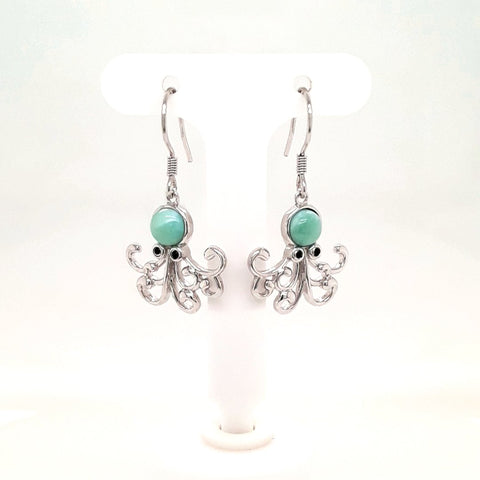 How 'Bout A HUG?! - Larimar Octopus Sterling Dangle, French Hook Earrings  - 1 1/8 inch